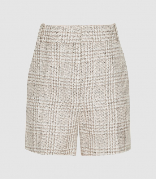 Reiss Lula - Checked Linen-blend Multi, Womens, Size 12 Short