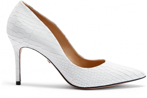 Schutz Shoes Rosie Pump - 7 White Crocodile Embossed Leather Pumps