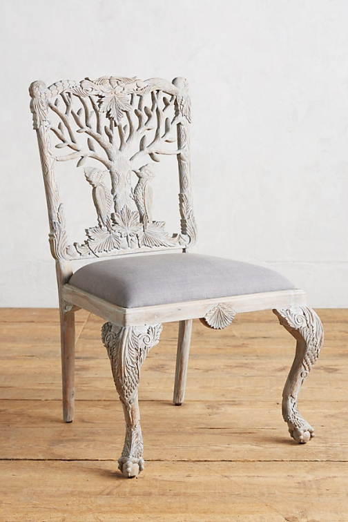 Anthropologie Handcarved Menagerie Woodpecker Dining Chair - Grey Accessorie