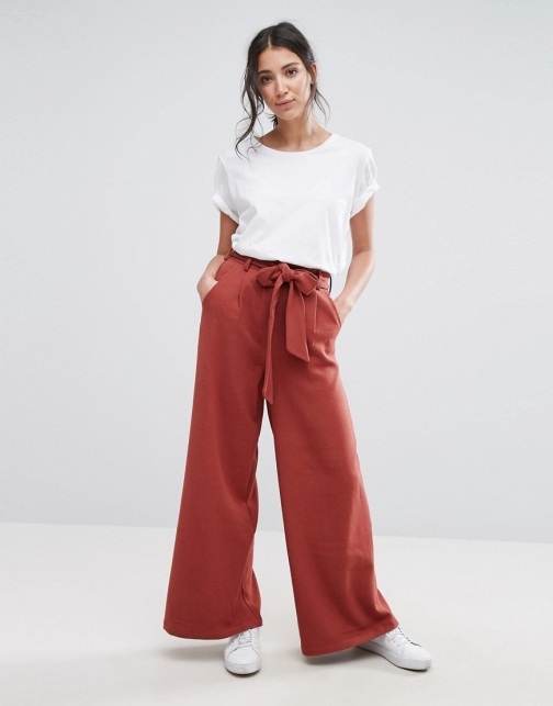 Native Youth Wide Leg Pants With Detail Tie