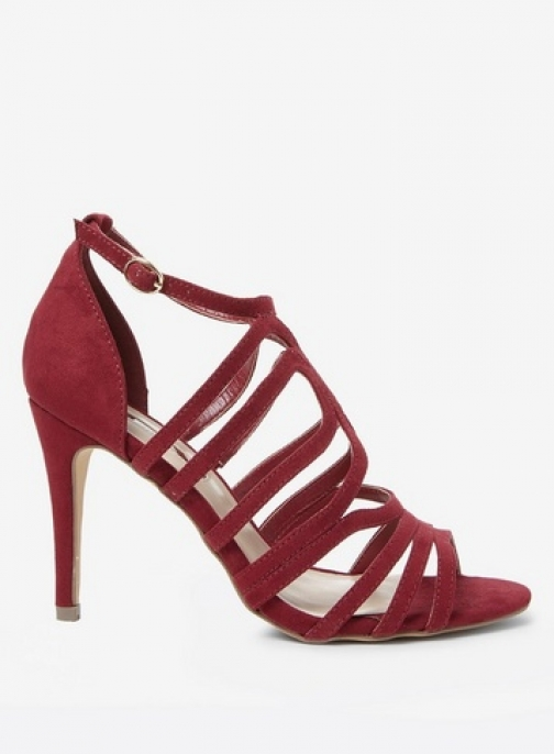 Dorothy Perkins Womens Burgundy 'Blossom' Caged - Red, Red Heeled Sandal