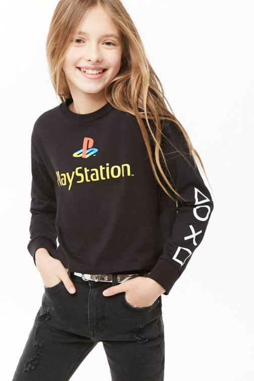 Forever21 Girls Forever 21 Girls PlayStation Graphic Tee (Kids) Black/multi T-Shirt