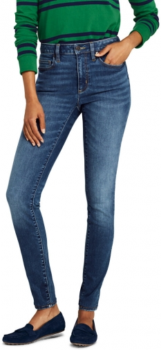 Lands' End Women's Petite Mid Rise - Blue - Lands' End - Blue - 2 26 Skinny Jeans