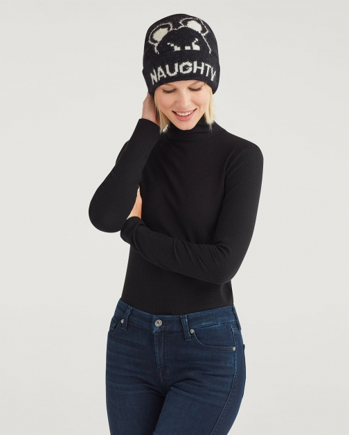 7 For All Mankind Womens Naughty & Nice Teddy Slouch Size: O/S Beanie