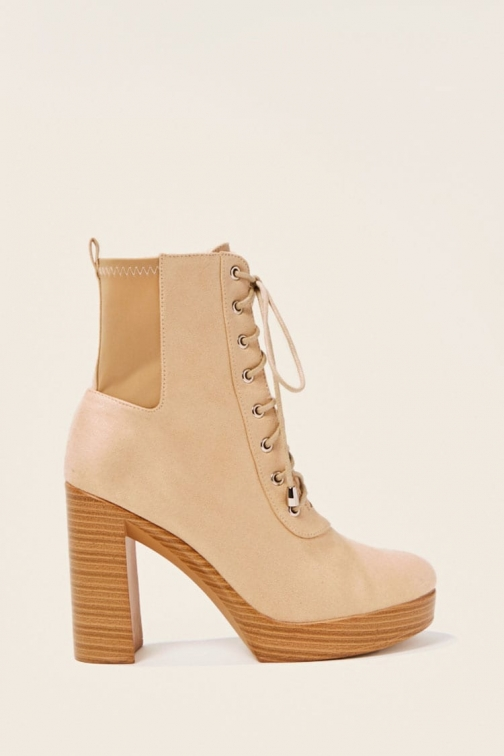 Forever21 Forever 21 Faux Suede Lace-Up Booties , Nude Boot