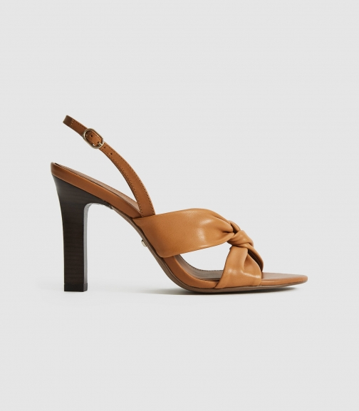 Reiss Phoebe - Leather Twist Front Slingbacks Tan, Womens, Size 8 Sandals
