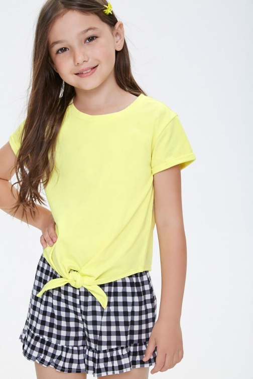 Forever21 Girls Tie-Front Tee (Kids) At Forever 21 , Yellow T-Shirt