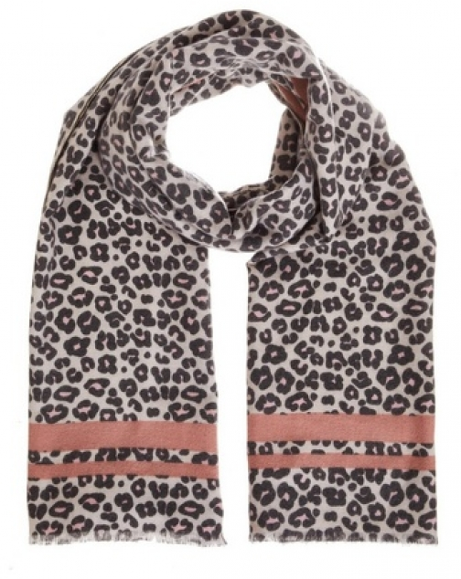 Quiz Pink And Grey Leopard Print Scarf