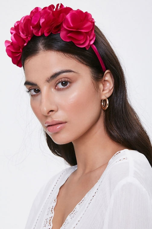 Forever21 Forever 21 Floral Structured Headband , Fuchsia Headwear