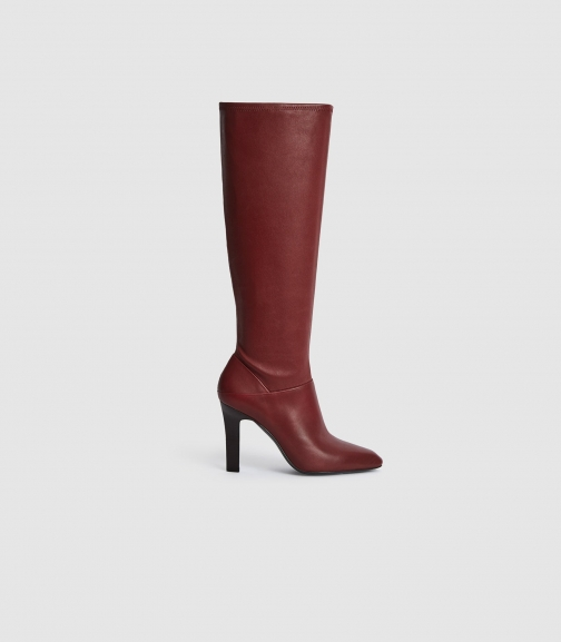 Reiss Cressida - Leather Bordeaux, Womens, Size 4 Knee High Boots