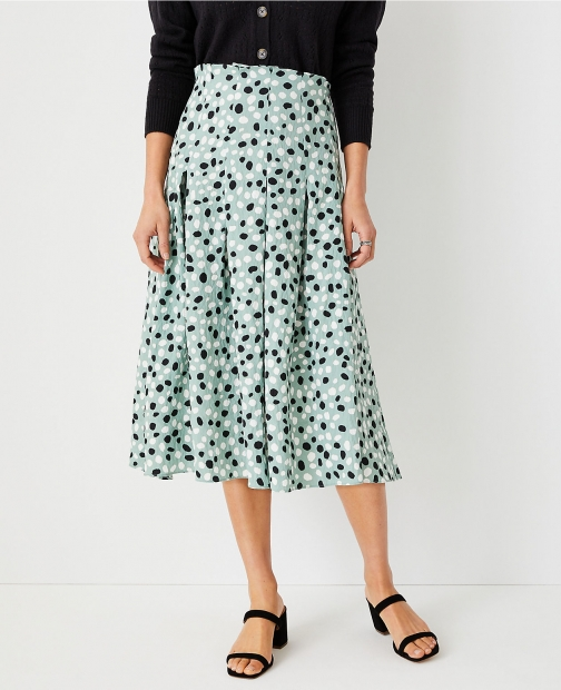 Ann Taylor Animal Dot Paperbag Midi Skirt