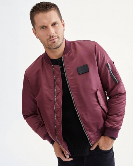 7 For All Mankind Mens Nylon Bomber Burgundy Size: S Bomber Jacket