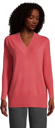 Lands' End Women's Cashmere Rib VNeck Tunic Sweater - Lands' End - Red - XS Tunic Dress