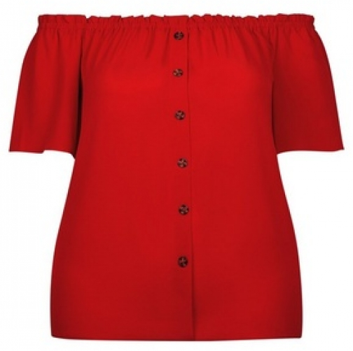 Dorothy Perkins Dp Curve Red Button Bardot Top