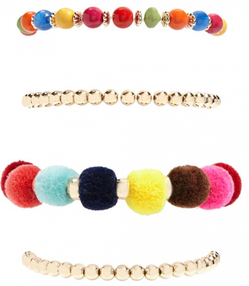 Forever21 Forever 21 Pom Pom & Beaded Stretch Set , Gold/multi Bracelet