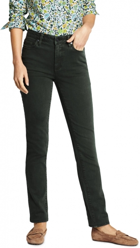 Lands' End Women's High Rise Straight Leg Ankle Crop - Color - Lands' End - Green - 2 Jeans