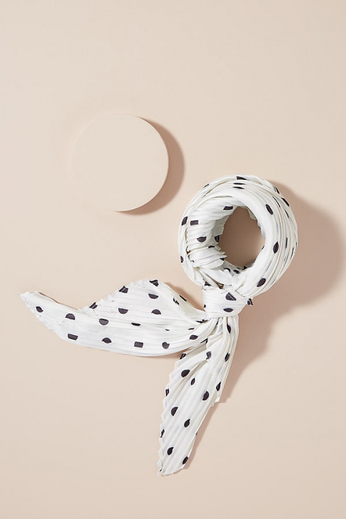 Anthropologie Pleated Polka-Dot Scarf
