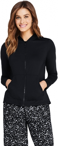 Lands' End Women's Hooded Full Zip Long Sleeve Rash Guard UPF 50 Sun Protection Cover-up Pockets - Lands' End - Black - XS Swimwear