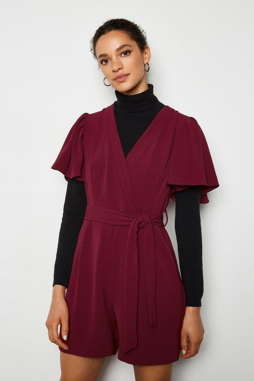 Karen Millen Jacquard Wine, Red Playsuit