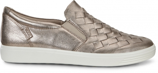 Ecco Womens Soft 7 Woven Sneakers Size 4/4.5 Warm Grey Trainer