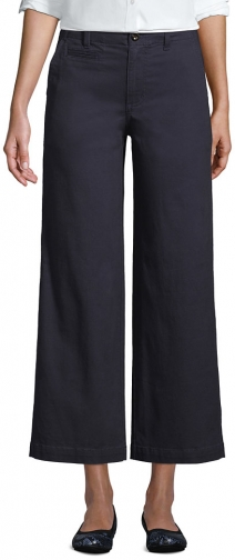 Lands' End Women's Mid Rise Wide Leg Ankle Pants - Lands' End - Gray - 2 Chino