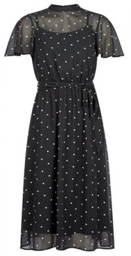 Dorothy Perkins Petite Black Spot Print Belted Fit And Flare Dress