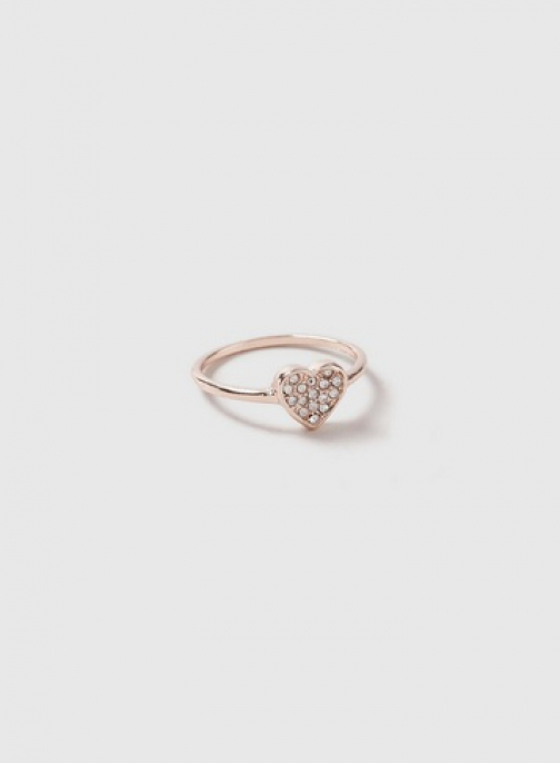 Dorothy Perkins Rose Gold Heart Diamonte Ring