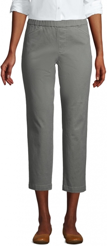 Lands' End Women's Mid Rise Pull On Crop Pants - Lands' End - Green - 2 Chino