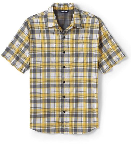 Lands' End Men's Traditional Fit Short Sleeve Outrigger Hiking - Lands' End - Yellow - M Shirt