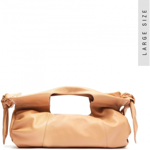 Schutz Shoes Shopping Demi Leather - O/S Honey Beige Leather Bag
