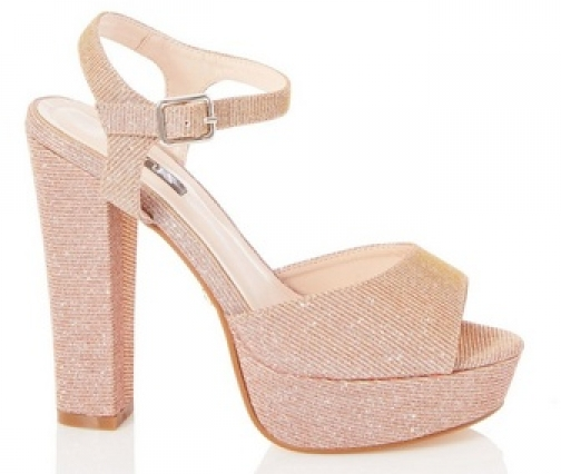 Quiz Rose Gold Block Heel Sandals