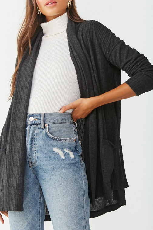Forever21 Forever 21 Brushed Ribbed , Charcoal Cardigan