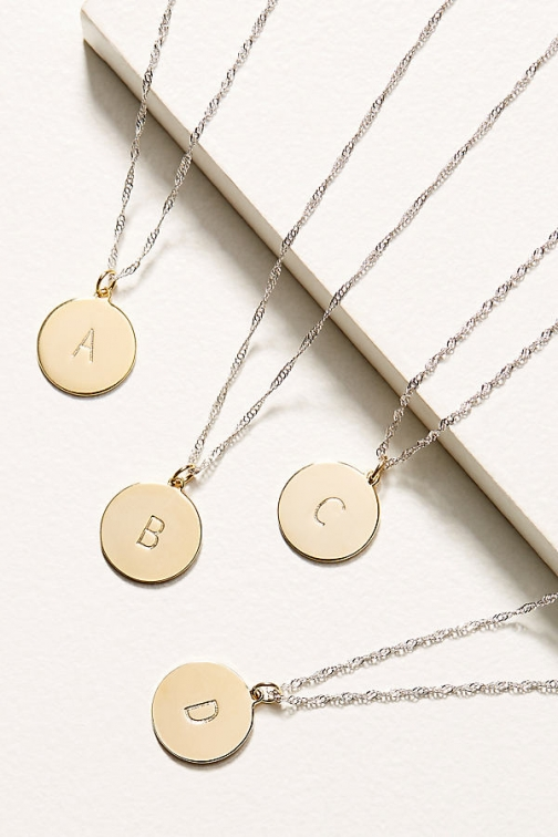 Anthropologie Monogram Disk - Assorted, Size T Necklace