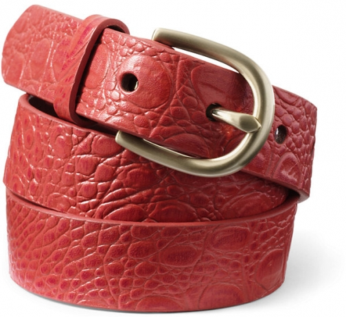 Lands' End Women's Crocodile Embossed Classic Leather - Lands' End - Red - XS Belt
