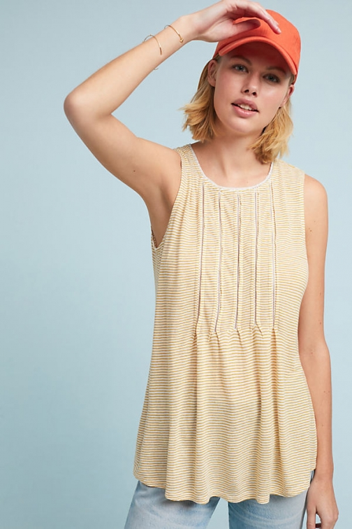 Anthropologie Pintucked - Gold, Size Top