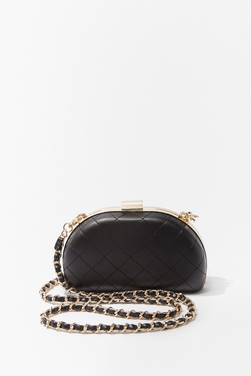 Forever21 Forever 21 Quilted Faux Leather , Black Clutch