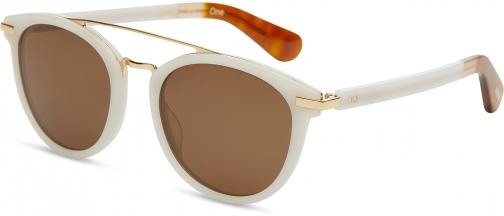 Toms Harlan Pearl White Solid Brown Lens With Brown Gradient Lens Sunglasses