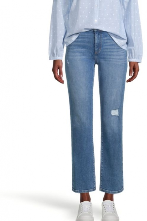 Loft Destroyed Straight Classic Mid Vintage Wash Jeans