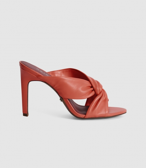 Reiss Ella - Leather Twist Front Heeled Mules Coral, Womens, Size 3 Shoes
