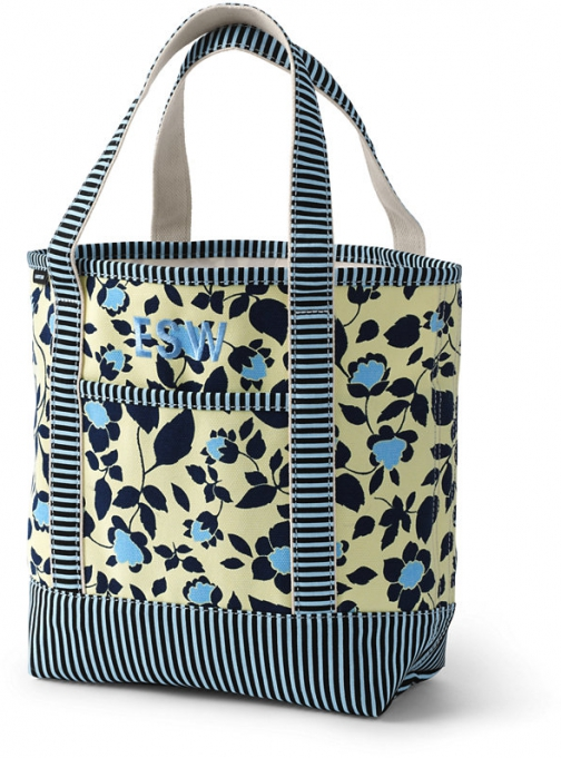 Lands' End All Over Print Medium Open Top Bag - Lands' End - Yellow Tote