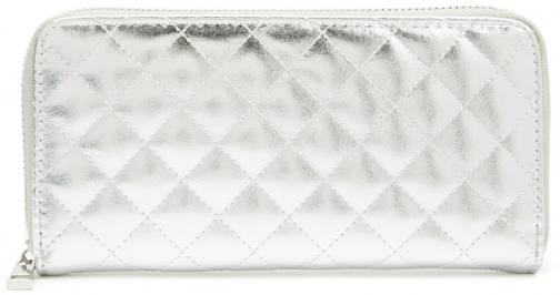 Forever21 Forever 21 Quilted Metallic Faux Leather , Silver Wallet
