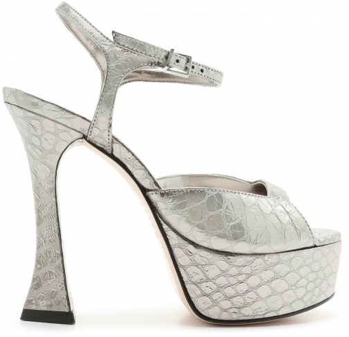 Schutz Shoes Lolyta Sandal - 5.5 SILVER METALLIC LEATHER Sandals