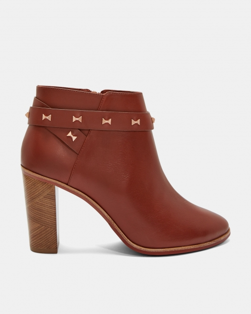 Ted Baker Studded Bow Leather Ankle Boot