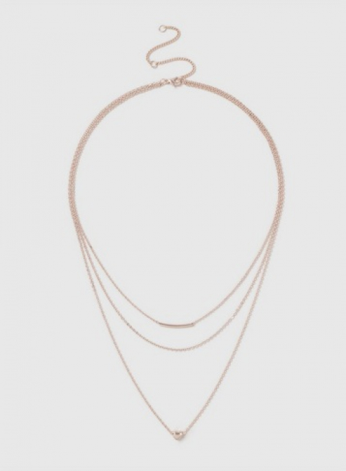 Dorothy Perkins Rose Gold Heart 3 Row Necklace