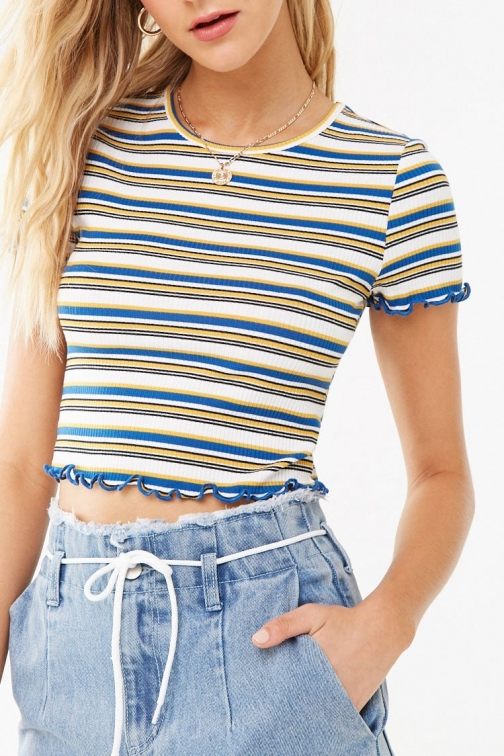 Forever21 Forever 21 Striped Crop , Mustard/navy Top