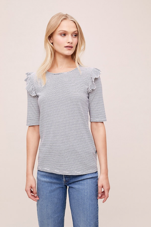 Sol Angeles Ruffle-Detailed Striped Tee T-Shirt