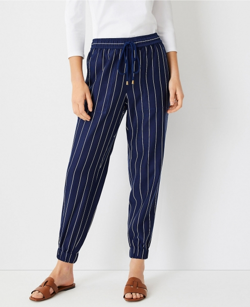 Ann Taylor The Petite Striped Pull On Pant Jogger