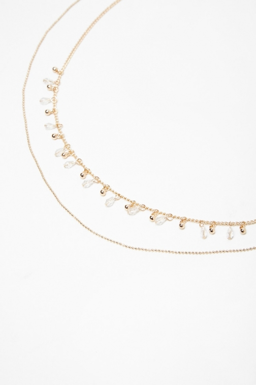 Forever21 Forever 21 Charm Necklace Set , Gold/clear Jewellery