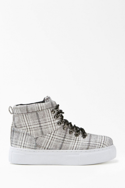 Forever21 Forever 21 Plaid High-Top Platform Sneakers , Grey/multi Trainer