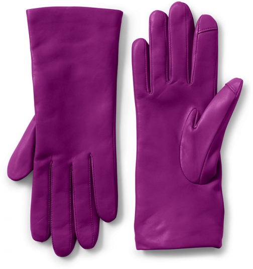 Lands' End Women's EZ Touch Screen Cashmere Lined Leather - Lands' End - Purple - S Glove